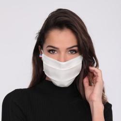 Lot de 10 masques barrières blancs - lavable et réutilisable 50 lavages - Adultes - Catégorie 1
