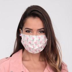Masque flamant rose en tissu - Masque barrière - Masque lavable et réutilisable 50 lavages - Adultes - Catégorie 1