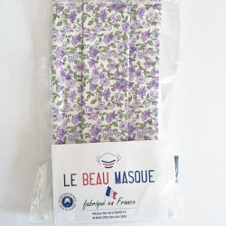 Masque barrière motifs fleurs 12 - lavable et réutilisable 50 lavages - Adultes - Catégorie 1