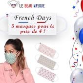 Aujourd'hui c'est les FRENCH DAYS !!! 🇫🇷  Profitez de l'événement pour vous faire plaisir avec de nouveaux masques.  Pour l'occasion nous vous proposons une belle offre : 4 masques achetés / 1 masque offert !  Vous trouverez forcément votre bonheur parmi notre large gamme : adultes, enfants, colorés, à motifs, unis, avec un message ? Tout y est alors n'hésitez plus !  Et en plus, c'est Made in France à petit prix ! 💰  👉 https://www.lebeaumasque.fr/  #masque #frenchdays #promo #soldes #tissu #afnor #accessoires #madeinfrance #protection